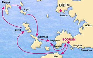 Bodrum-North Dodecanese Blue Voyage Map