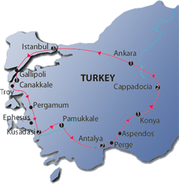 Glories of Turkey Tour Map
