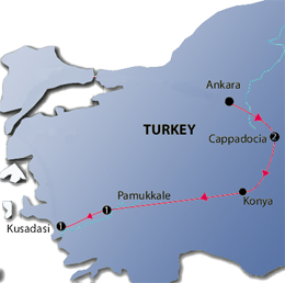 Pearls of Turkey 8 Nights Tour Map